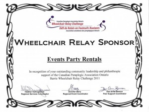 Wheelchair Relay Sponsor Certificate