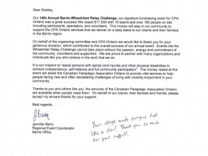 Wheelchair Relay Thank You Letter