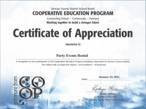 Simcoe County District School Board Certificate of Appreciation