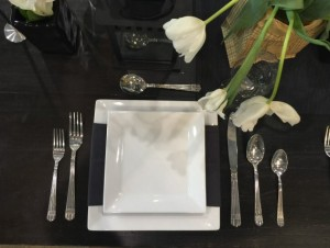 Square Plates and Cutlery